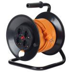 Derulator BACHMANN 392.425, 4 prize Schuko, 25m HO5VV-F 3G2.5mm, portocaliu