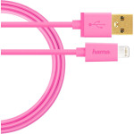 Cablu de date USB Lightning pentru iPhone 5 / 5C / 5S /6 / 6S/ 7 HAMA U6108964, Pink