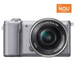 Camera foto digitala compacta SONY Alpha A5000 cu obiectiv interschimbabil 16-50mm, 20.1Mp, 3 inch, argintiu