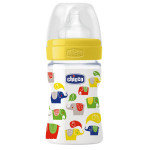 Biberon CHICCO Well Being 7072080-7, polipropilena, 150 ml, 0 luni+, tetina silicon, flux normal, multicolor