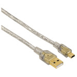 Cablu USB A - mini USB B HAMA 41533, 1.8m, transparent