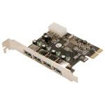 Adaptor LOGILINK PC0057A, 1 x PCI-E Male, 4 x USB3.0 Female