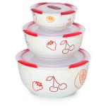 Set 3 boluri ceramice OURSSON BS2981RC/DC, 0.3 / 0.85 / 1.7 l, visiniu
