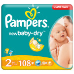 Scutece PAMPERS New Baby 2 Mini, Giant Pack, 108 buc, 3-6 kg