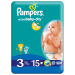 Scutece PAMPERS Active Baby 3 Midi, 15 buc, 4-9 kg