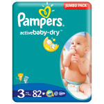 Scutece PAMPERS Active Baby 3 Midi, Jumbo Pack, 82 buc, 4-9 kg