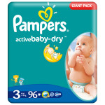 Scutece PAMPERS Active Baby 3 Midi, Giant Pack, 96 buc, 4-9 kg