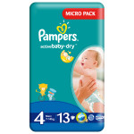 Scutece PAMPERS Active Baby 4 Maxi, Micro Pack, 13 buc, 7-14 kg