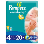 Scutece PAMPERS Active Baby 4 Maxi, 20 buc, 7-14 kg