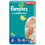 Scutece PAMPERS Active Baby 4 Maxi, Jumbo Pack, 70 buc, 7-14 kg
