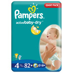 Scutece PAMPERS Active Baby 4 Maxi, Giant Pack, 82 buc, 7-14 kg