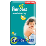 Scutece PAMPERS Active Baby 4+ Maxi Plus, Jumbo Pack, 62 buc, 9-16 kg