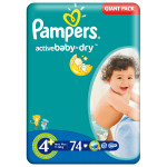 Scutece PAMPERS Active Baby 4+ Maxi Plus, Giant Pack, 74 buc, 9-16 kg