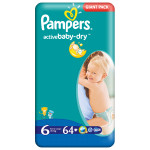 Scutece PAMPERS Active Baby 6 Extra Large, Giant Pack, 64 buc, 15+ kg