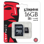 Card de memorie microSDHC 16GB clasa 10 UHS-I 45MB/s + adaptor KINGSTON SDC10G2/16GB