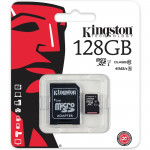 Card de memorie microSDXC 128GB clasa 10 UHS-I 45MB/s + adaptor KINGSTON SDC10G2/128GB