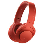 Casti on-ear cu microfon Bluetooth Hi-Res SONY MDR-100ABNR, Wireless, Noise-canceling, rosu