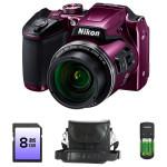 Camera foto digitala NIKON Coolpix B500, 16Mp, 40x, 3 inch, Purple, geanta + card SD 8GB + incarcator cu 4 acumulatori