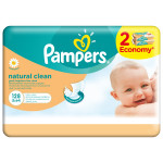 Servetele umede PAMPERS Natural Clean, 2 x 64 buc