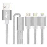 Cablu de date 3in1 MYRIA MY9005, microUSB + USB-C + Lightning, 1.4m