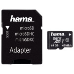 Card de memorie microSDXC 64GB Clasa 10 UHS-I 45MB/S + adaptor, HAMA 114735