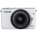 Camera foto mirrorless CANON EOSM10, 18Mp, 3 inch, obiectiv 15-45 mm,  f/3.5-6.3 IS STM, alb