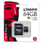 Card de memorie microSDXC 64GB clasa 10 UHS-I 45MB/s + adaptor KINGSTON SDC10G2/64GB