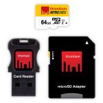 Kit Card de memorie microSDXC + Cititor de carduri + Adaptor, 64GB Clasa 10, 566X UHS-I, STRONTIUM