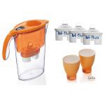 Cana filtranta LAICA Stream + 3 cartuse + 2 pahare colorate, culoare portocaliu