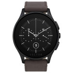 Smartwatch VECTOR Luna, Brushed Black with Brown Leather Strap