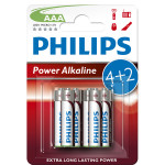 Baterii alcaline AAA PHILIPS LR03P6BP/10, 4+2 bucati
