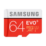 Card de memorie microSDXC 64GB SAMSUNG EVO+, Clasa 10 UHS-I