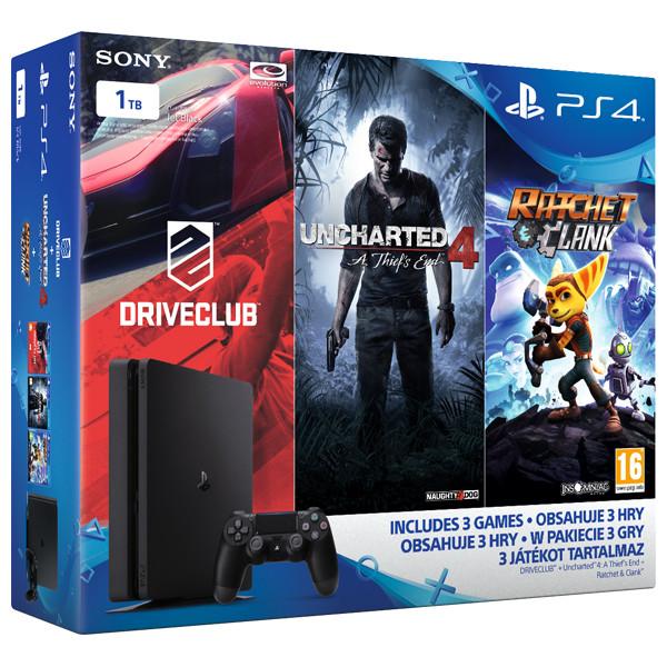 Consola Sony Playstation 4 SLIM, 1TB, negru + Trei jocuri (DriveClub, Uncharted 4, Ratchet&Clank)