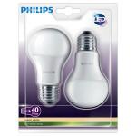 Set 2 becuri LED PHILIPS 8718696491126, 6W, E27, 2700K, alb cald