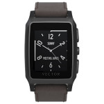 Smartwatch VECTOR Meridian, Brushed Black with Brown Leather Strap