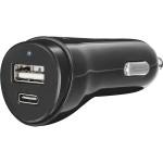 Incarcator auto universal TRUST 21588, Fast DUAL USB-C & USB CAR, Black