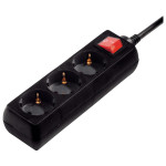 Prelungitor HAMA 108816, 3 prize Schuko, 3m,  H05VV-F 3G1mm, intrerupator, negru