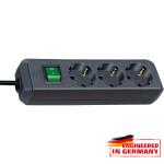 Prelungitor BRENNENSTUHL 141819, 3 prize Schuko,  5m, H05VV-F 3G1.5mm, intrerupator, negru