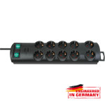 Prelungitor BRENNENSTUHL 145558, 10 prize Schuko, 2m, H05VV-F 3G1.5mm, intrerupator, negru