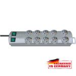 Prelungitor BRENNENSTUHL 149912, 10 prize Schuko, 2m, H05VV-F 3G1.5mm, 2 intrerupatoare, argintiu