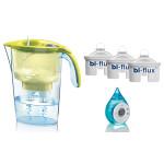 Pachet Cana filtrare apa LAICA Stream Yellow + 3 filtre de apa Bi-Flux + ceas cu apa