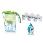 Pachet Cana filtrare apa LAICA Stream Green + 3 filtre de apa Bi-Flux + ceas cu apa