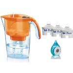 Pachet Cana filtrare apa LAICA Stream Orange + 3 filtre de apa Bi-Flux + ceas cu apa