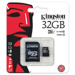 Card de memorie microSDHC 32GB clasa 10 UHS-I 45MB/s + adaptor KINGSTON SDC10G2/32GB