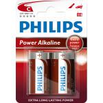 Baterii alcaline R14 PHILIPS LR14P2B/10, 2 bucati