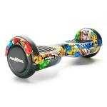 Scooter electric FREEWHEEL Junior, graffiti galben + husa cadou